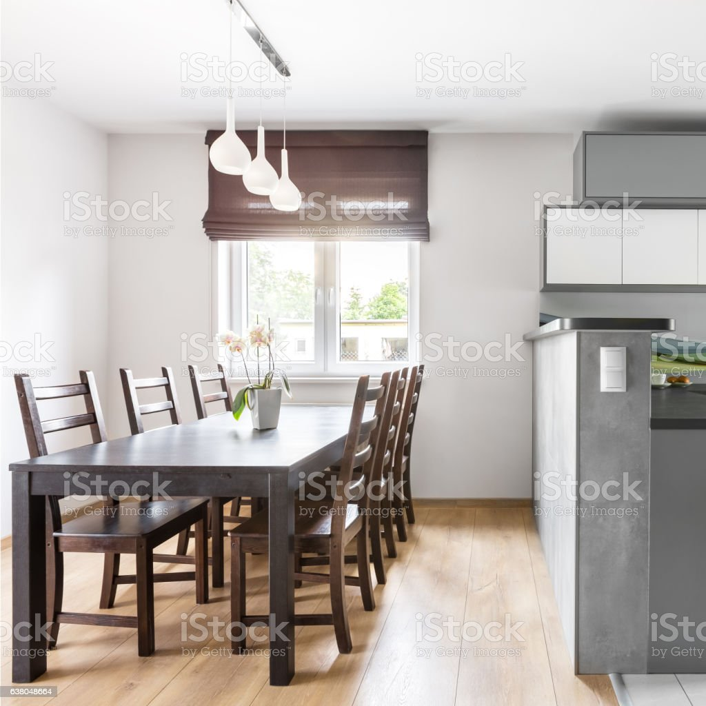 Kitchen open to dining area stock photo