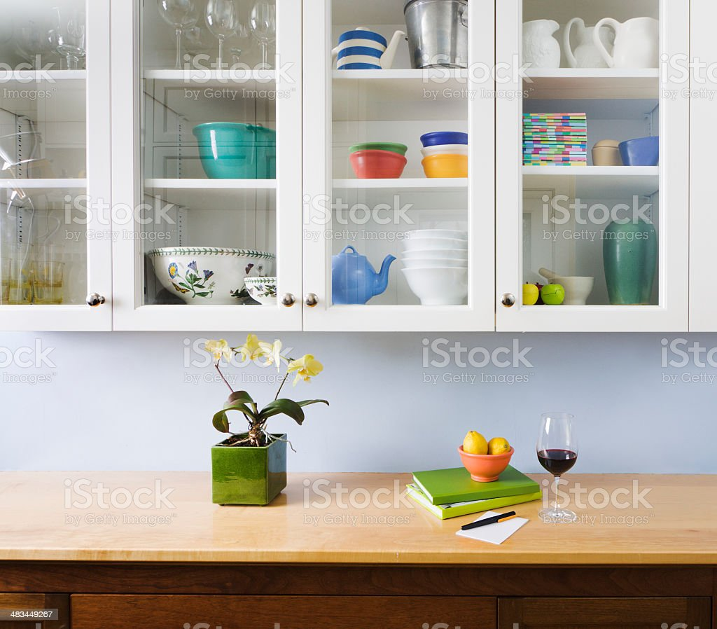 Kitchen Organization, Counter and Cabinet in Home Interior Design stock photo