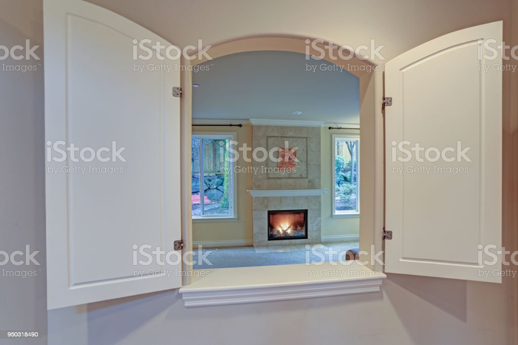 Kitchen Pass Through Window Opens To A Living Room Stock Photo Download Image Now Istock