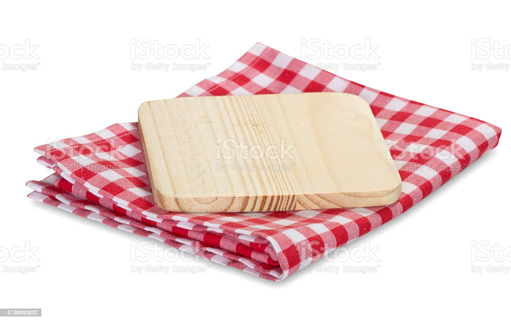 Kitchen picnic clothes plaid and wooden tray isolated. stock photo