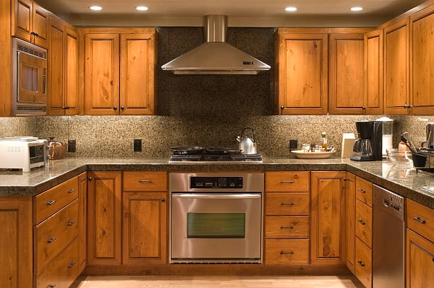 ausgestattete küche - schrank stock-fotos und bilder