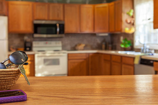 ausgestattete küche - telefonschrank stock-fotos und bilder