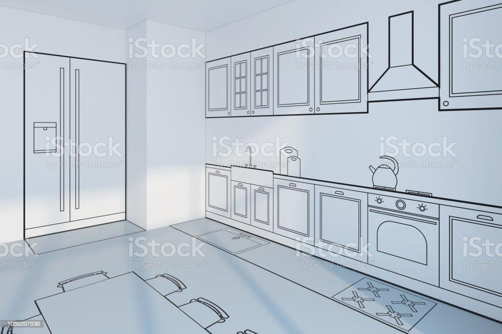 Remarkable Kitchen Planning Design Concept 3D Rendering Stock Photo Interior Design Ideas Philsoteloinfo