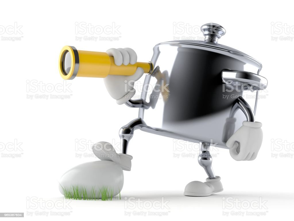 Kitchen pot character looking through a telescope royalty-free stock photo