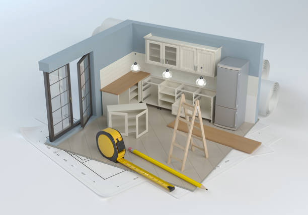 Kitchen project and assembly of furniture 3D illustration public housing stock pictures, royalty-free photos & images