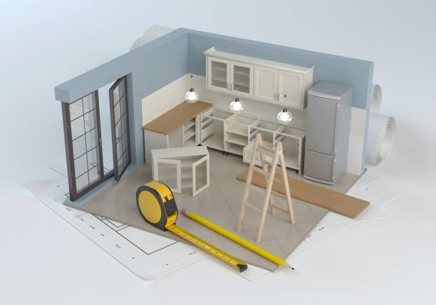 küchenprojekt und montage von möbeln - sozialwohnung stock-fotos und bilder