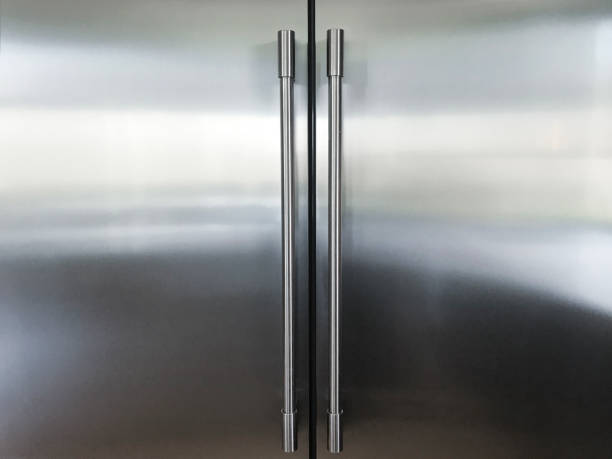 kitchen refrigerator - stainless steel stock pictures, royalty-free photos & images