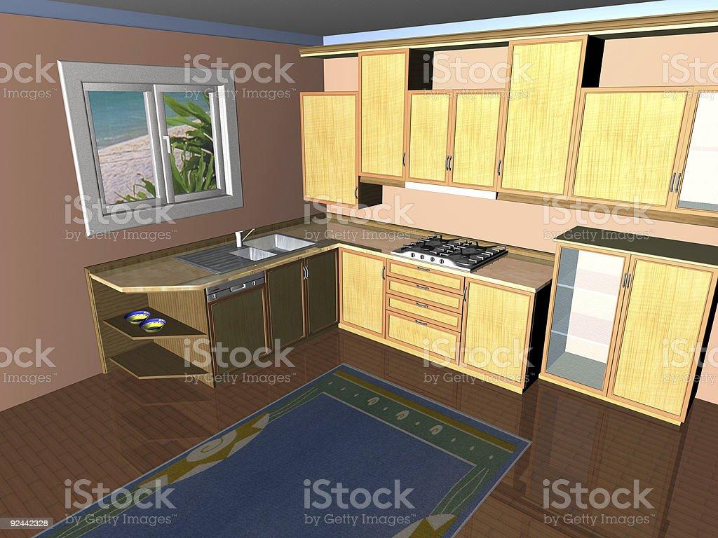 3d Kitchen Render Stock Photo - Download Image Now - iStock