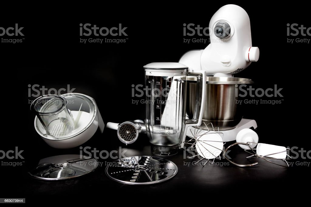 Kitchen robot with complete equipment closeup stock photo