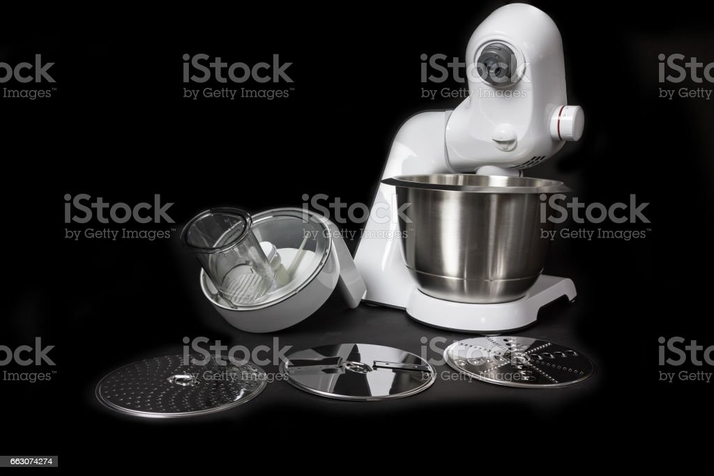 Kitchen robot with slicing equipment closeup stock photo