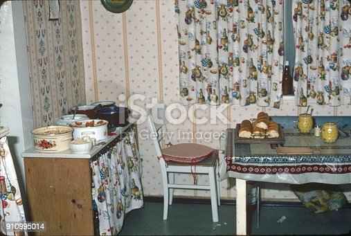 Bavaria, Germany, 1983. Modest kitchen room.
