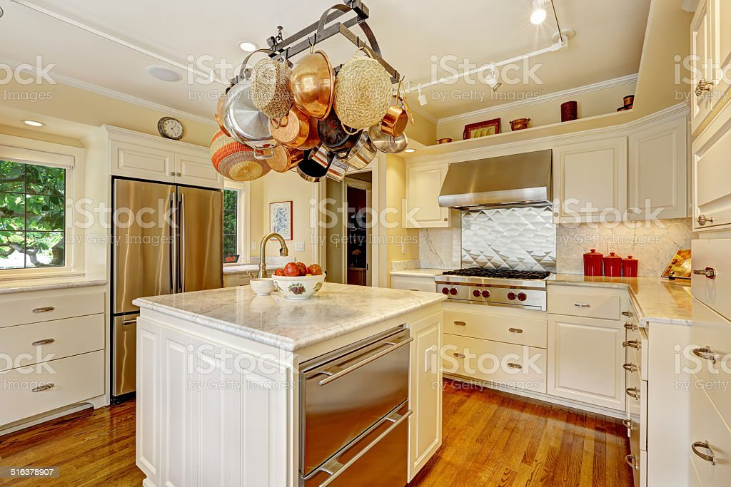 Kitchen Room With Island And Hanging Pot Rack Stock Photo Download Image Now Istock