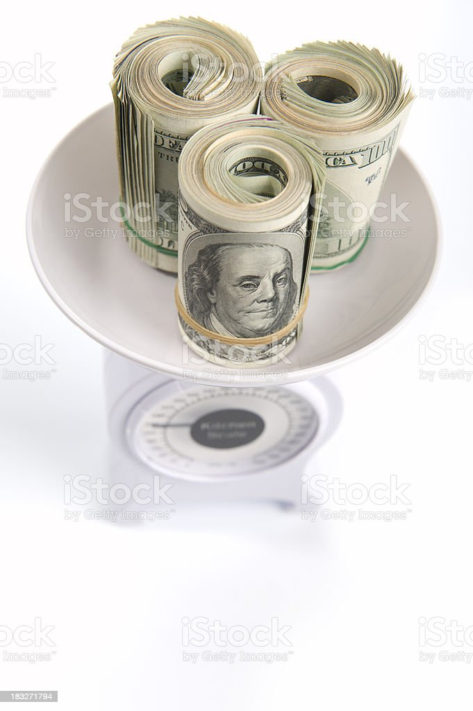 Kitchen Scale and Money stock photo