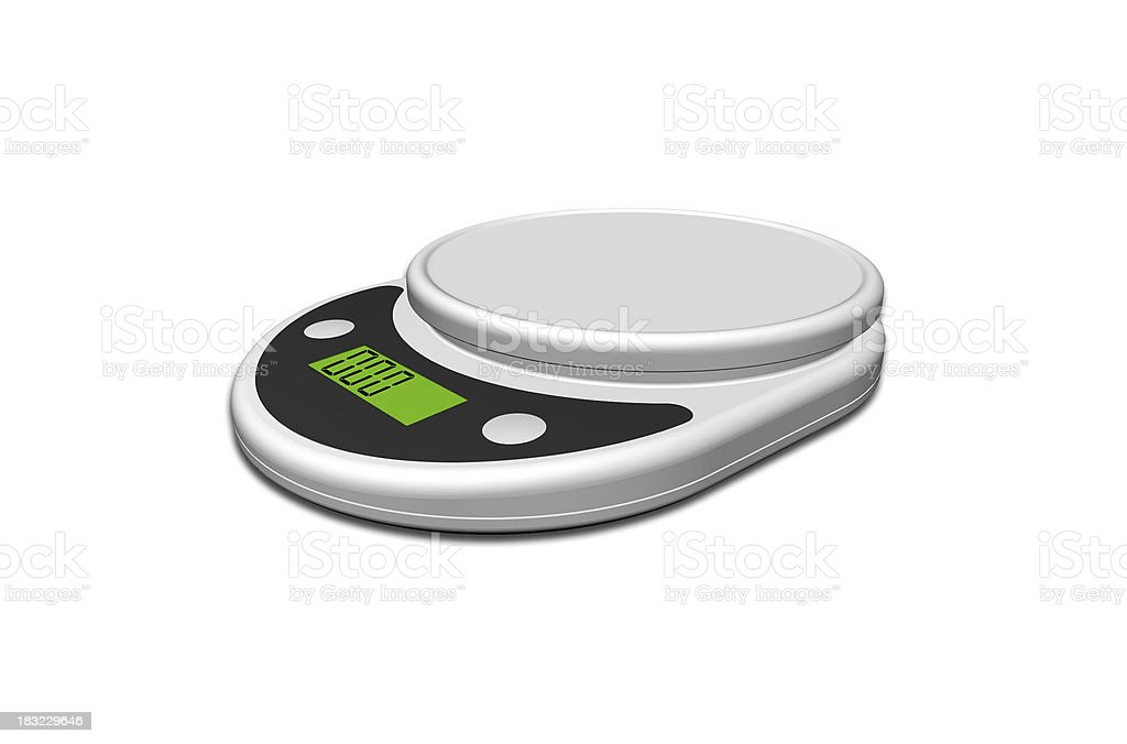 kitchen scale on white background stock photo