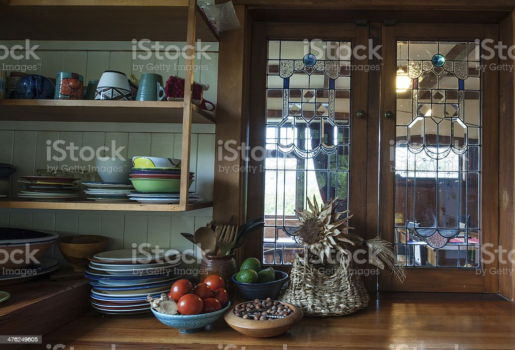 kitchen scene in 1920s New Zealand bungalow royalty-free stock photo