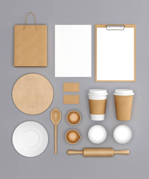 kitchen set mock up on grey background - food logo stock photos and pictures