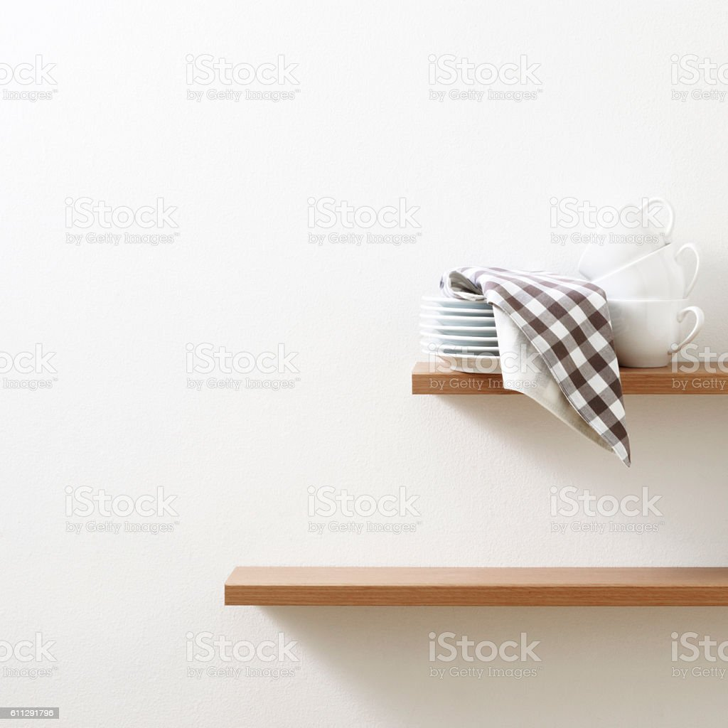 Kitchen shelf stock photo