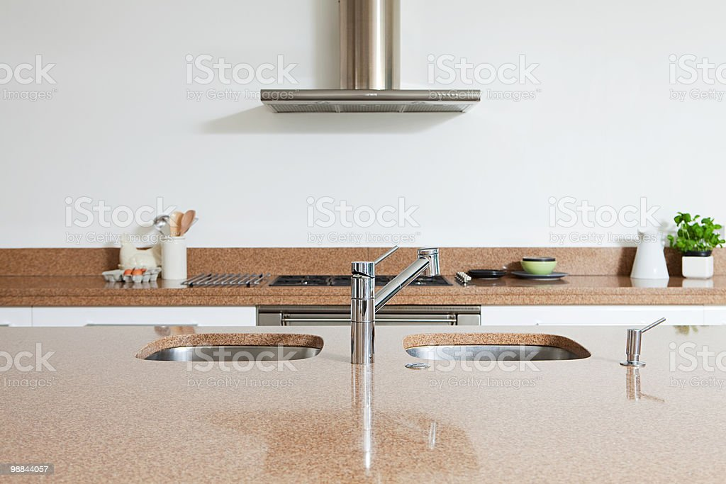 Kitchen sink and counter royalty-free stock photo