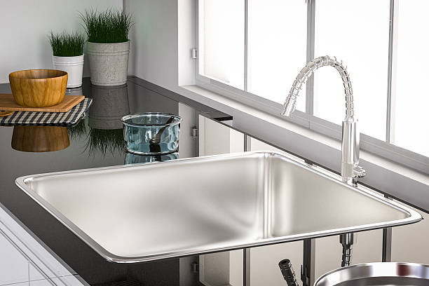 kitchen sink and faucet - kitchen sink stock photos and pictures