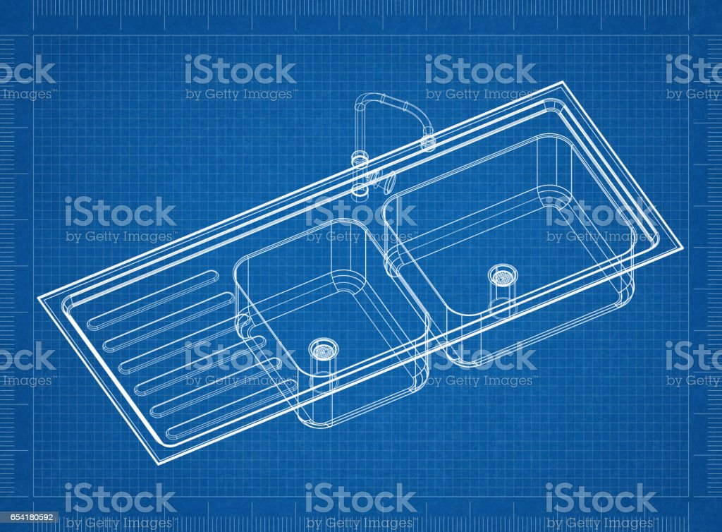 Kitchen Sink Blueprint 3d Perspective Stock Photo More Pictures Of