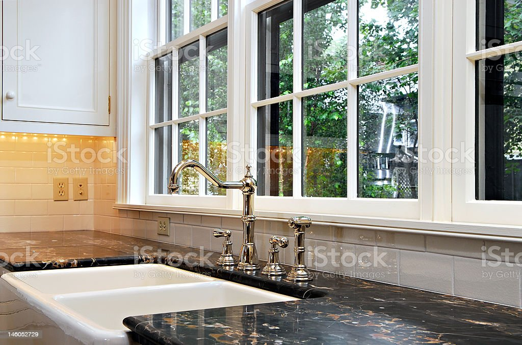 Kitchen sink with a view stock photo