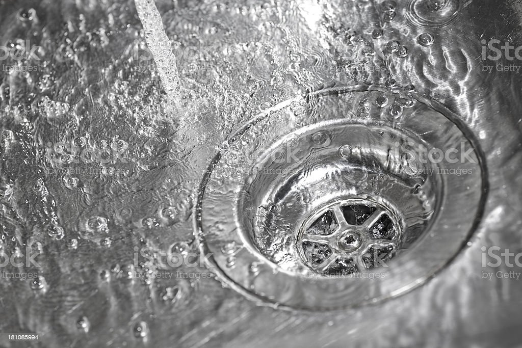 kitchen sink with water stock photo