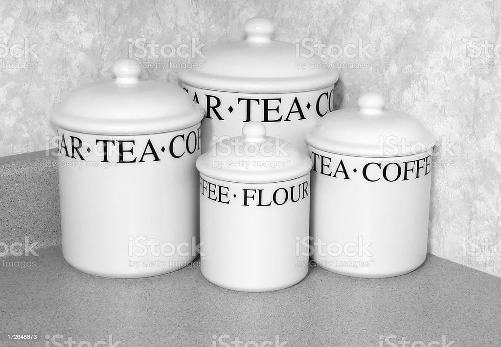Kitchen Storage Jars   Sugar, Tea, Coffee, Flour Royalty Free Stock Photo