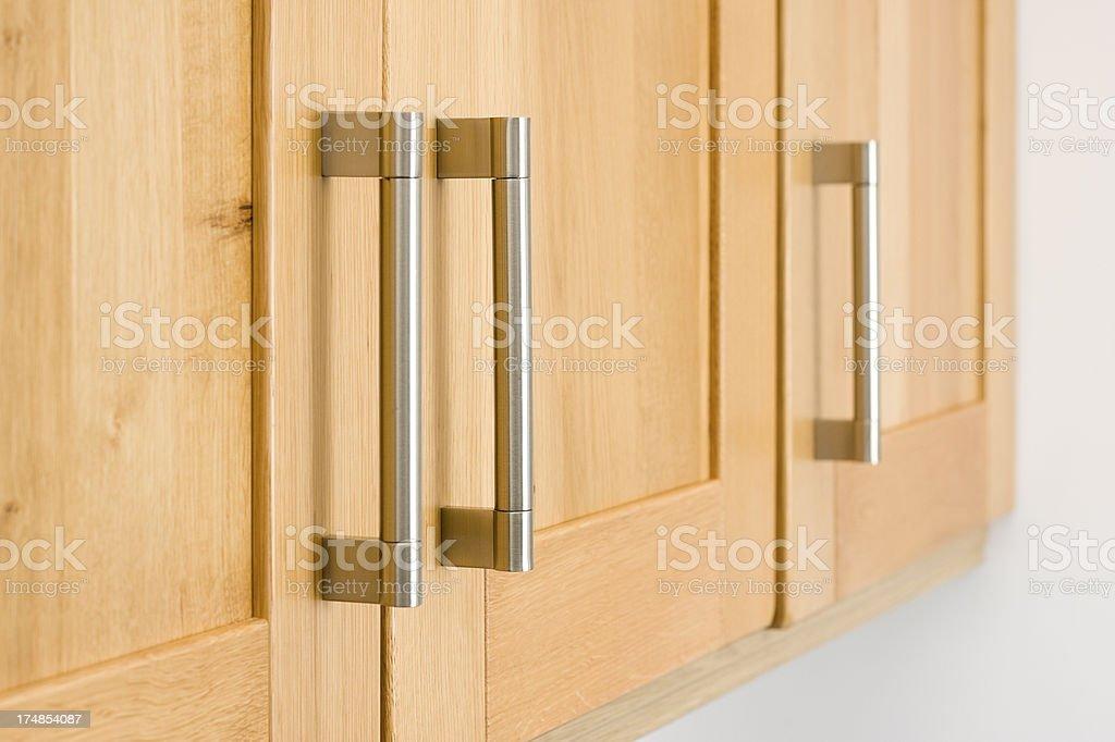 Kitchen storage unit handles stock photo