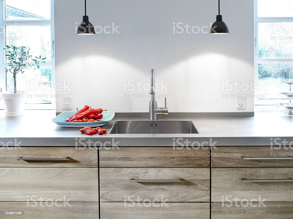 Kitchen table and sink stock photo