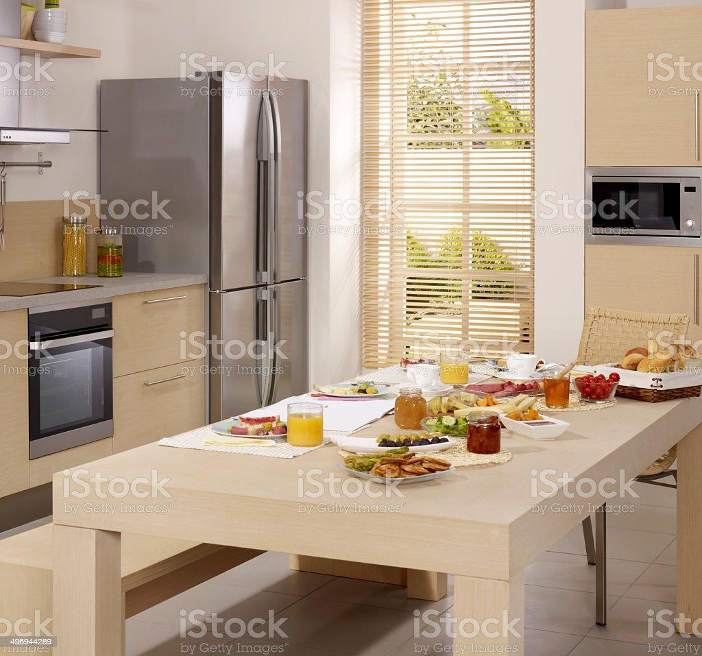 Kitchen Table Set For Breakfast stock photo