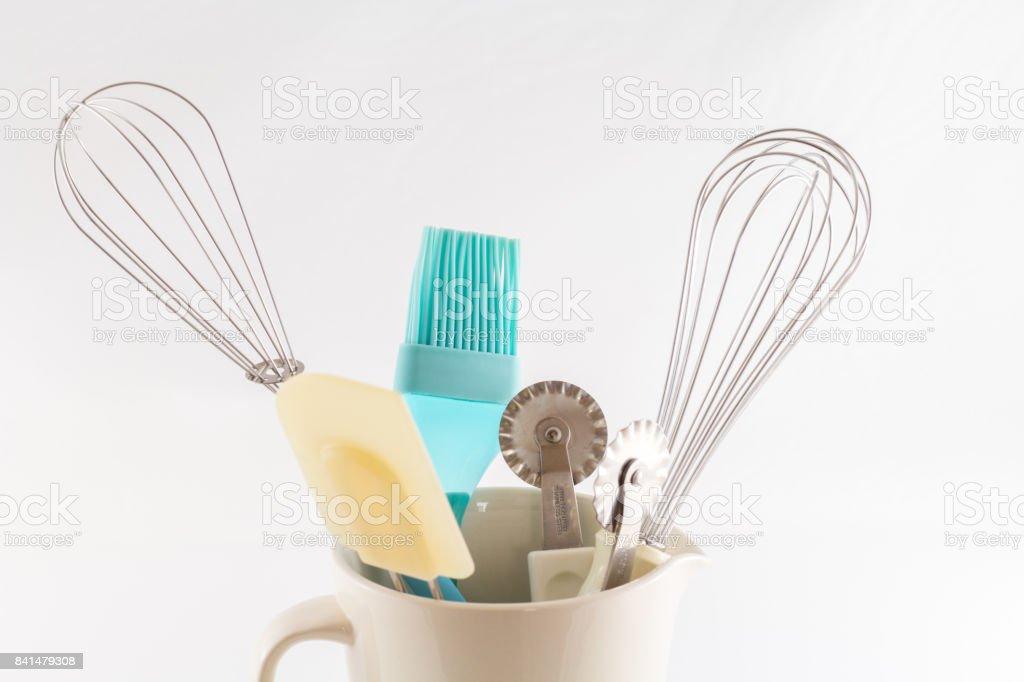 Kitchen Tools Bakery Utensils Isolated on White Background stock photo