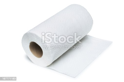 Roll of paper kitchen towel isolated on white.