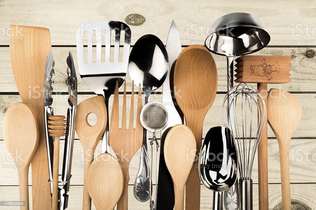 Kitchen Utensil, Cooking Utensil, Wooden Spoon stock photo