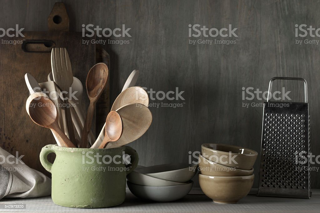 Kitchen utensil set stock photo