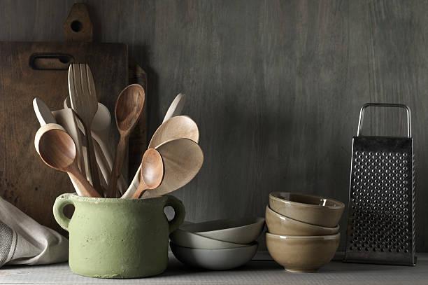 küchenzubehör-set - hofladen stock-fotos und bilder