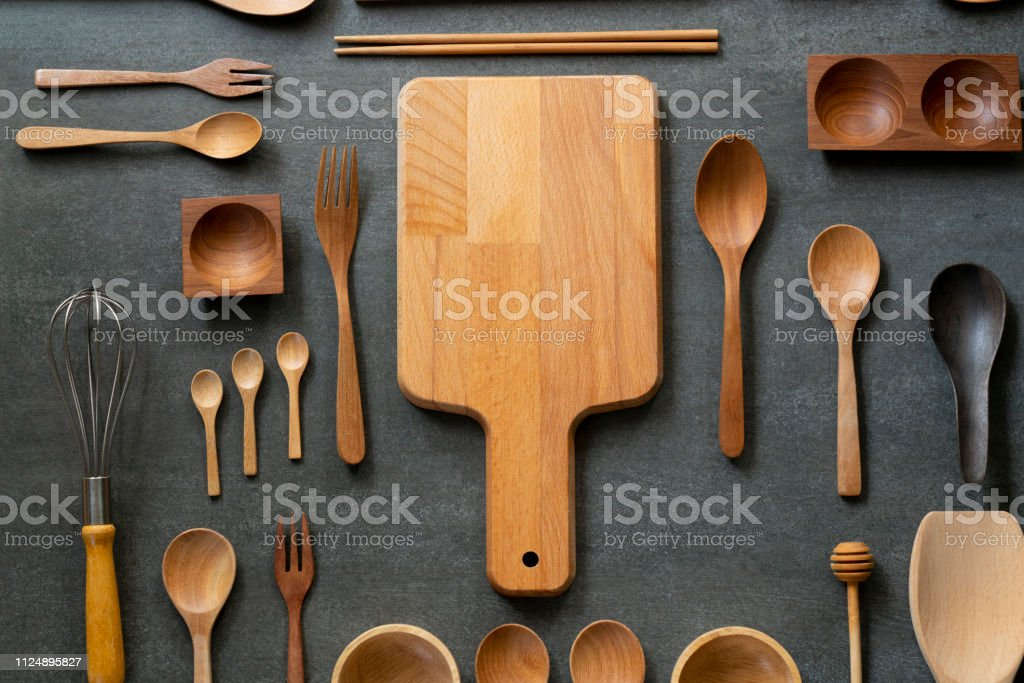 Kitchen Utensils For Cooking On The Black Table Background Food Prepare Concept Stock Photo Download Image Now Istock