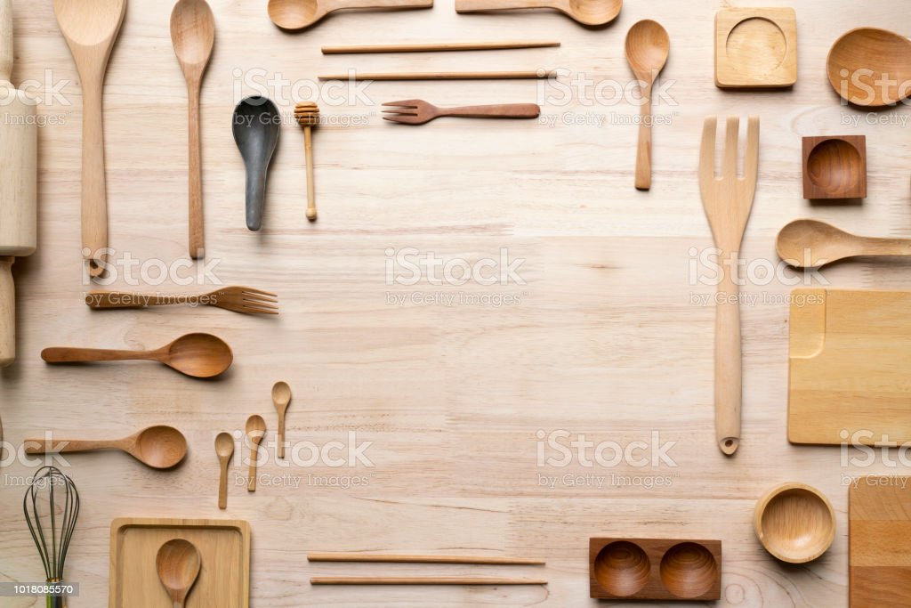 kitchen utensils for cooking on the wooden table, food prepare concept stock photo