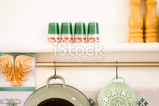 839034546 istock photo Kitchen Utensils Hanging, Pretty Ceramic Details, Glasses 534127854