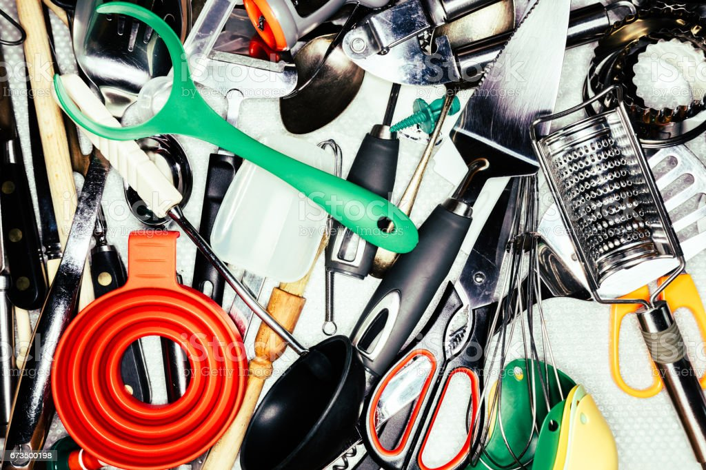 Kitchen utensils in kitchen drawer stock photo