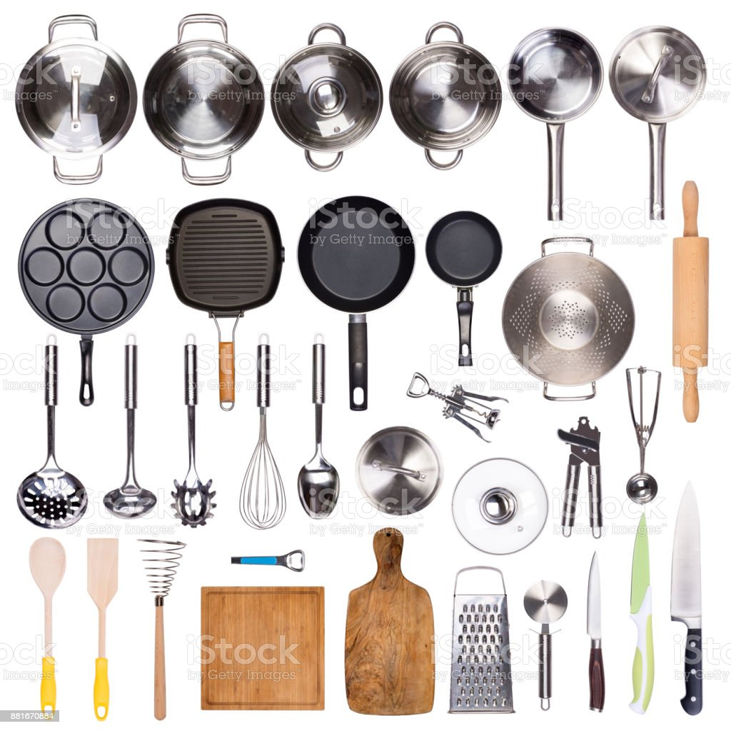 Utensilios de cocina aislado sobre fondo blanco - foto de stock