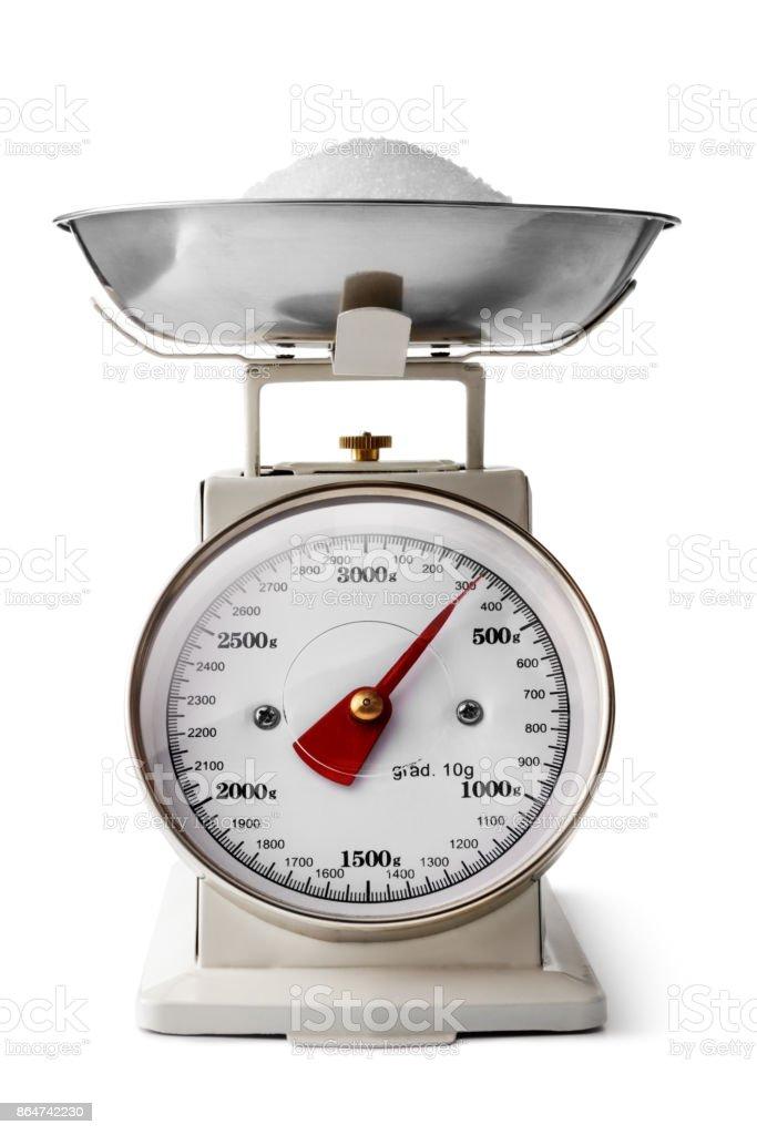 Kitchen Utensils: Kitchen Scale Isolated on White Background stock photo