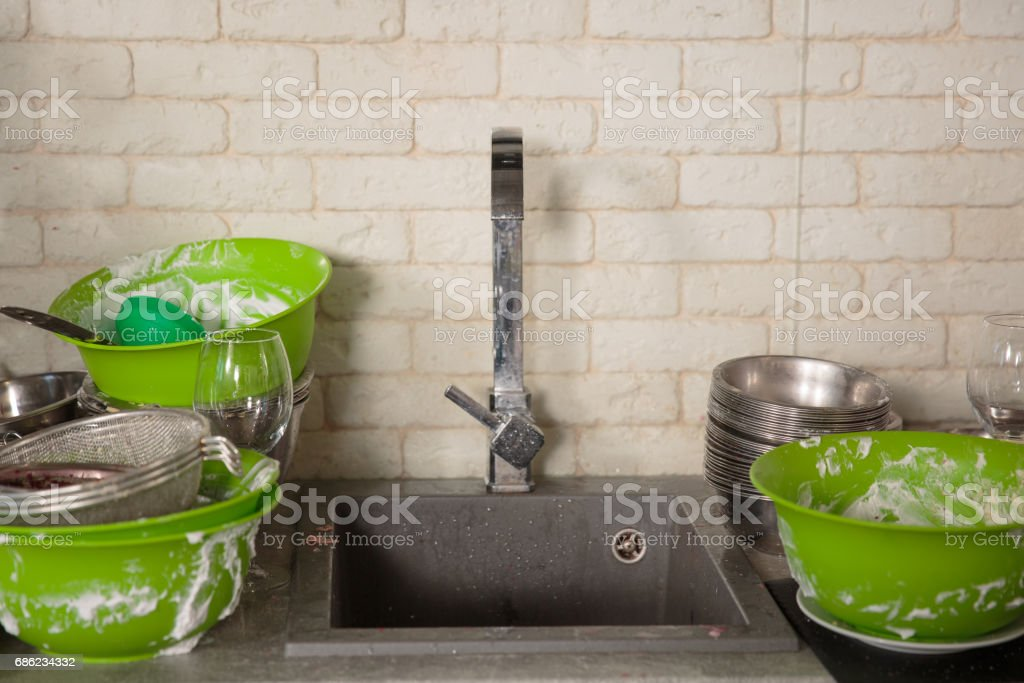 Kitchen utensils need a wash stock photo