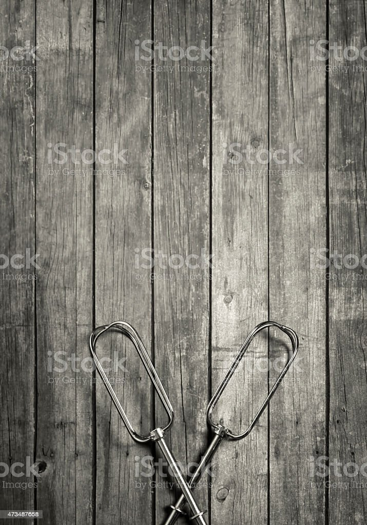 Kitchen utensils on wooden background template stock photo