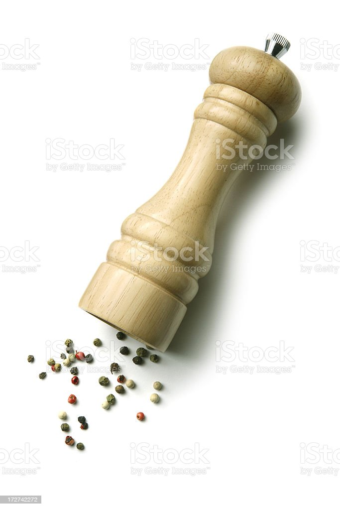Kitchen Utensils: Peppermill and Peppercorn stock photo