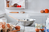 istock Kitchen utensils, products for dough, baking 818401830