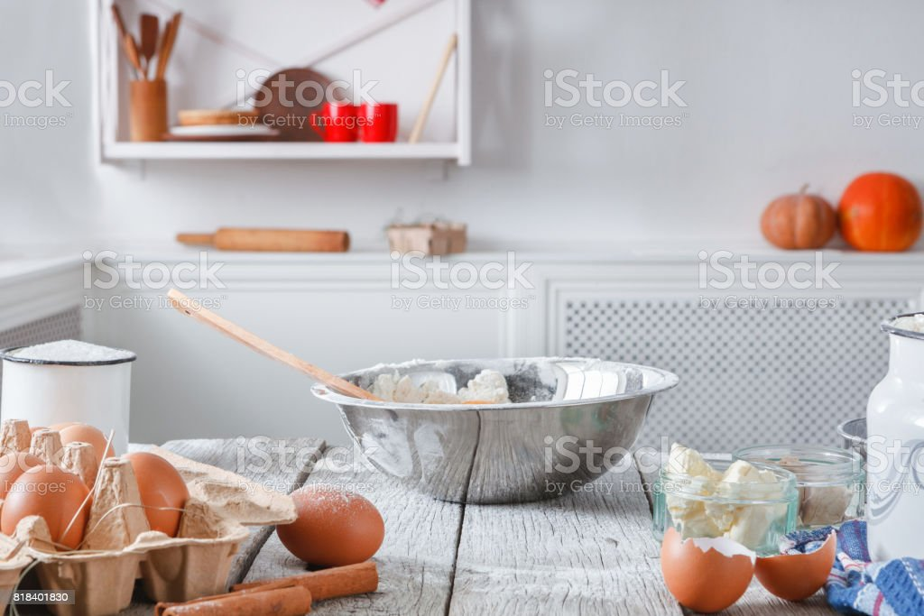 Kitchen utensils, products for dough, baking stock photo