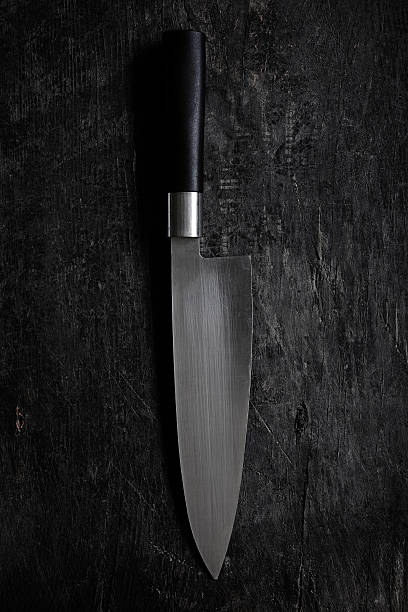 kitchen utensils serie - chef's knife - table knife stock photos and pictures