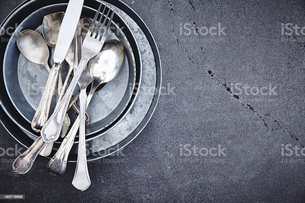 Kitchen utensils - Silver cutlery stock photo