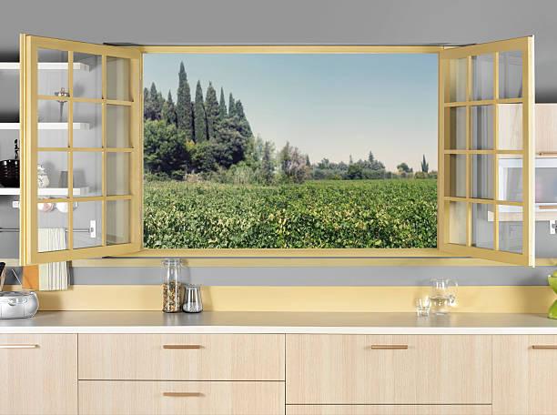 küche-fenster - landküche stock-fotos und bilder