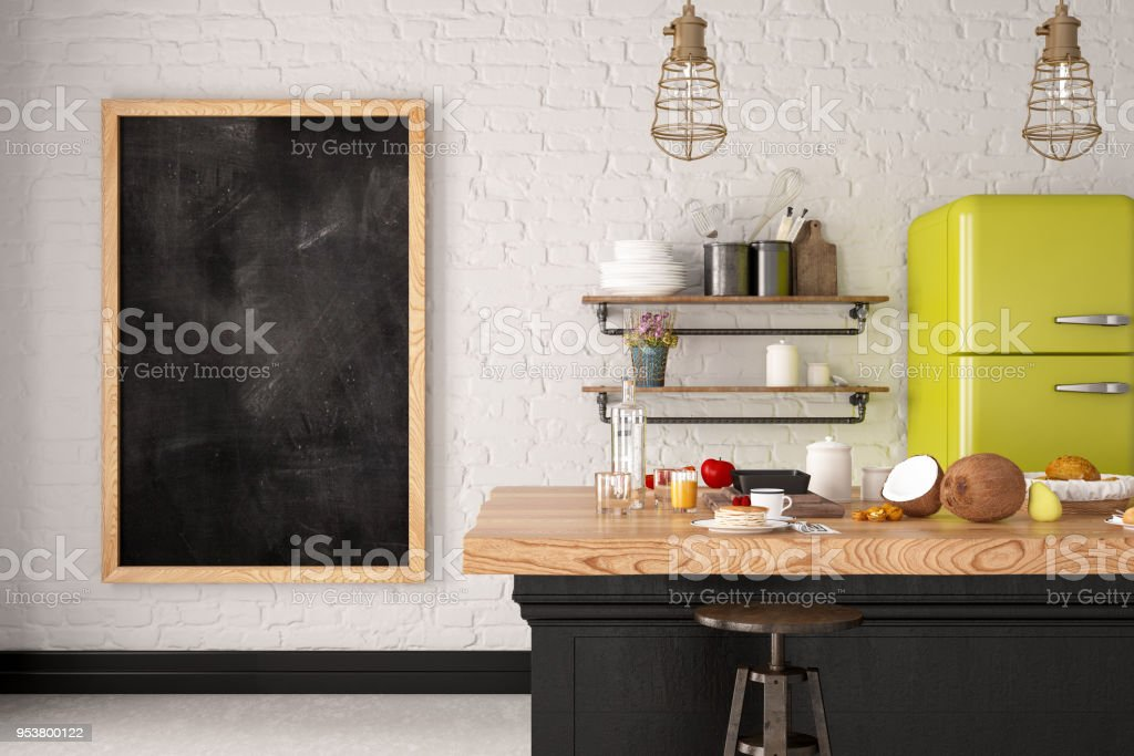 Kitchen with Blank Board stock photo